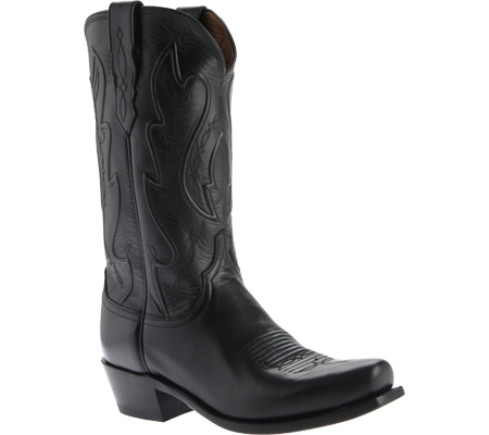 Men's Lucchese Bootmaker Cole Squared Off Toe Cowboy Heel Boot, Black Calf, large, image 1