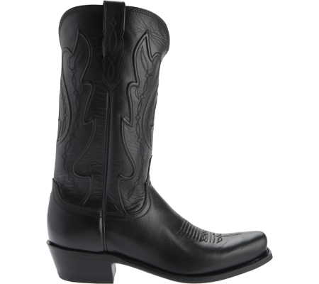 Men's Lucchese Bootmaker Cole Squared Off Toe Cowboy Heel Boot, Black Calf, large, image 2