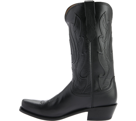 Men's Lucchese Bootmaker Cole Squared Off Toe Cowboy Heel Boot, Black Calf, large, image 3