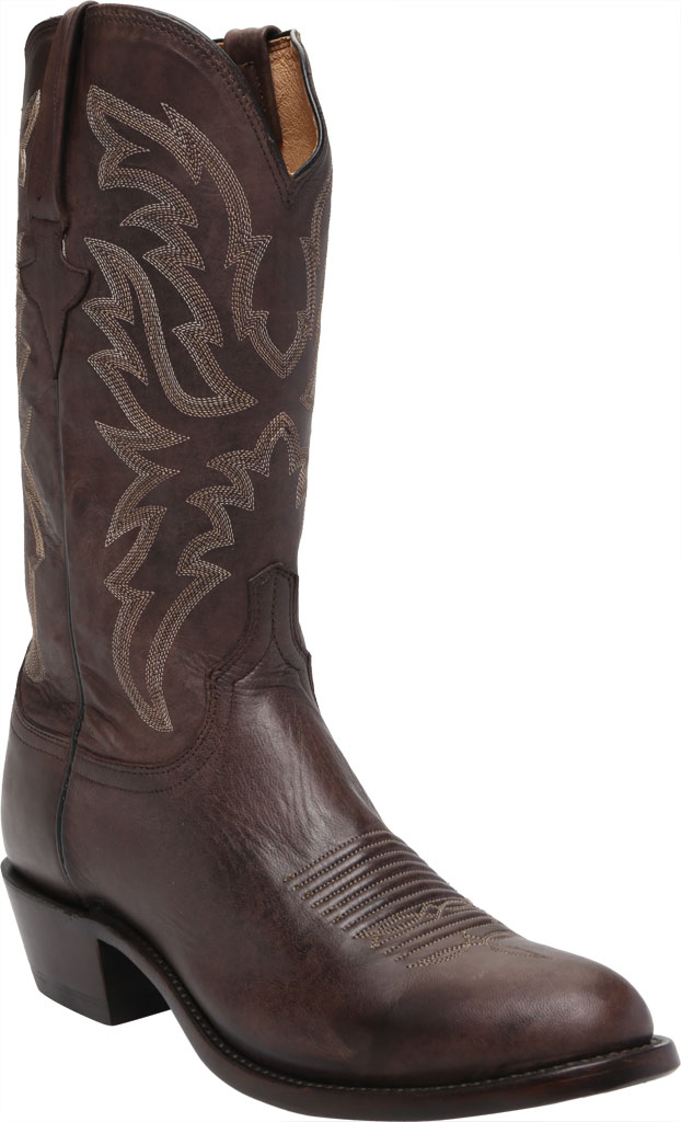 Men's Lucchese Bootmaker Milo R Toe Western Boot, Antique Dark Brown Goat, large, image 1