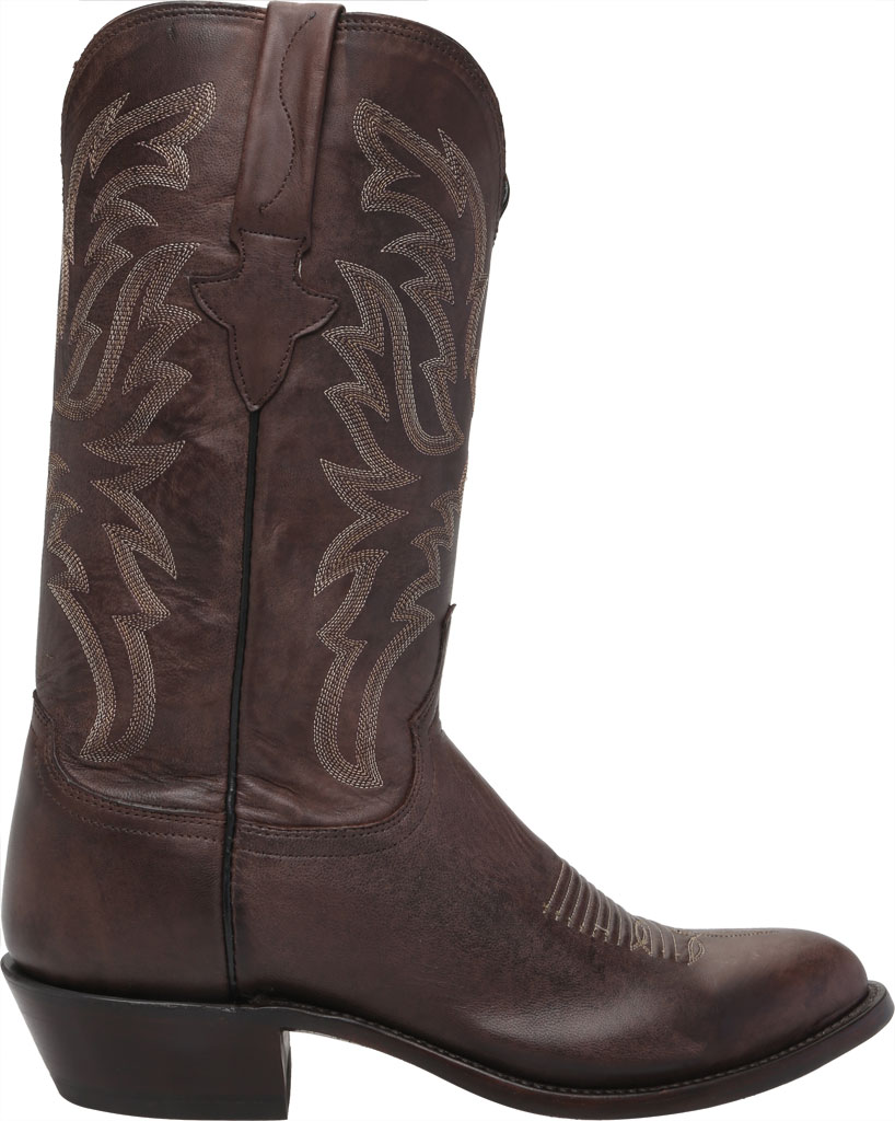 Men's Lucchese Bootmaker Milo R Toe Western Boot, Antique Dark Brown Goat, large, image 2