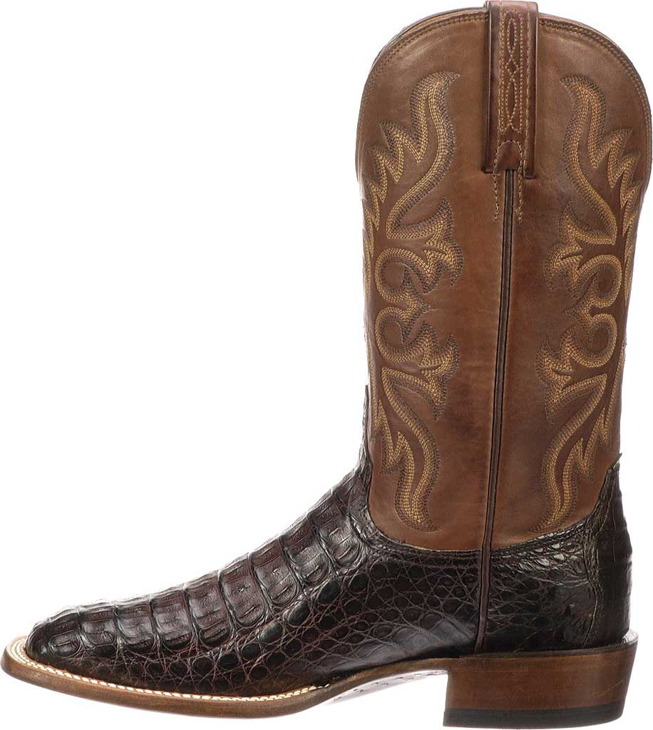 Men's Lucchese Bootmaker Fisher W Toe Cowboy Boot, Barrel Brown Hornback Caimain Crocodile, large, image 3