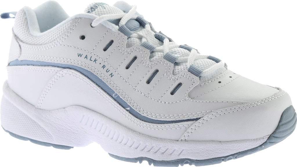 Women's Easy Spirit Romy Walking Shoe, White/Medium Blue Leather, large, image 1