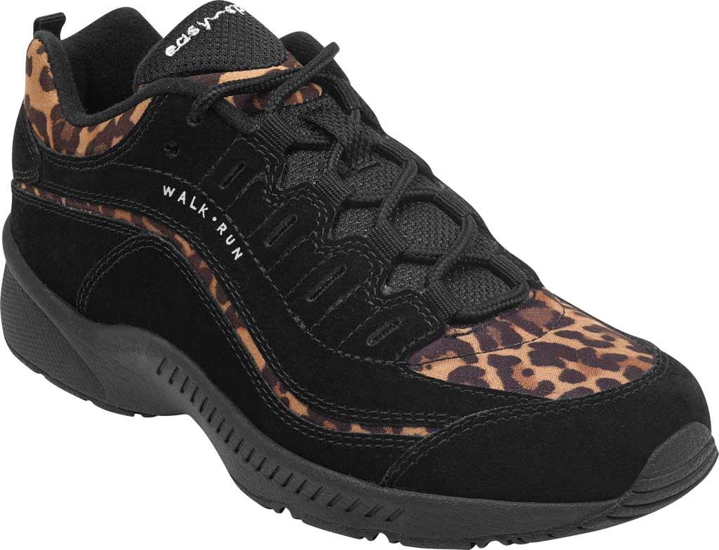 Women's Easy Spirit Romy Walking Shoe, Black Suede/Fabric, large, image 1