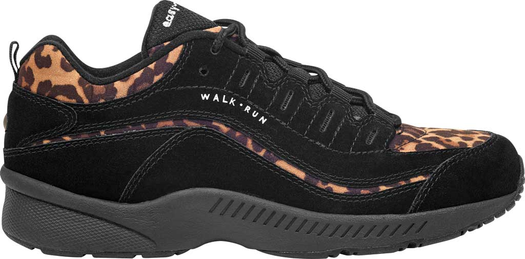 Women's Easy Spirit Romy Walking Shoe, Black Suede/Fabric, large, image 2