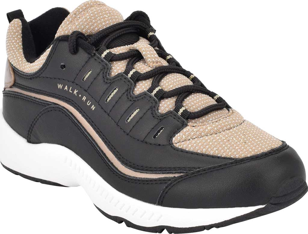Women's Easy Spirit Romy Walking Shoe, Black/Tan Leather/Fabric, large, image 1