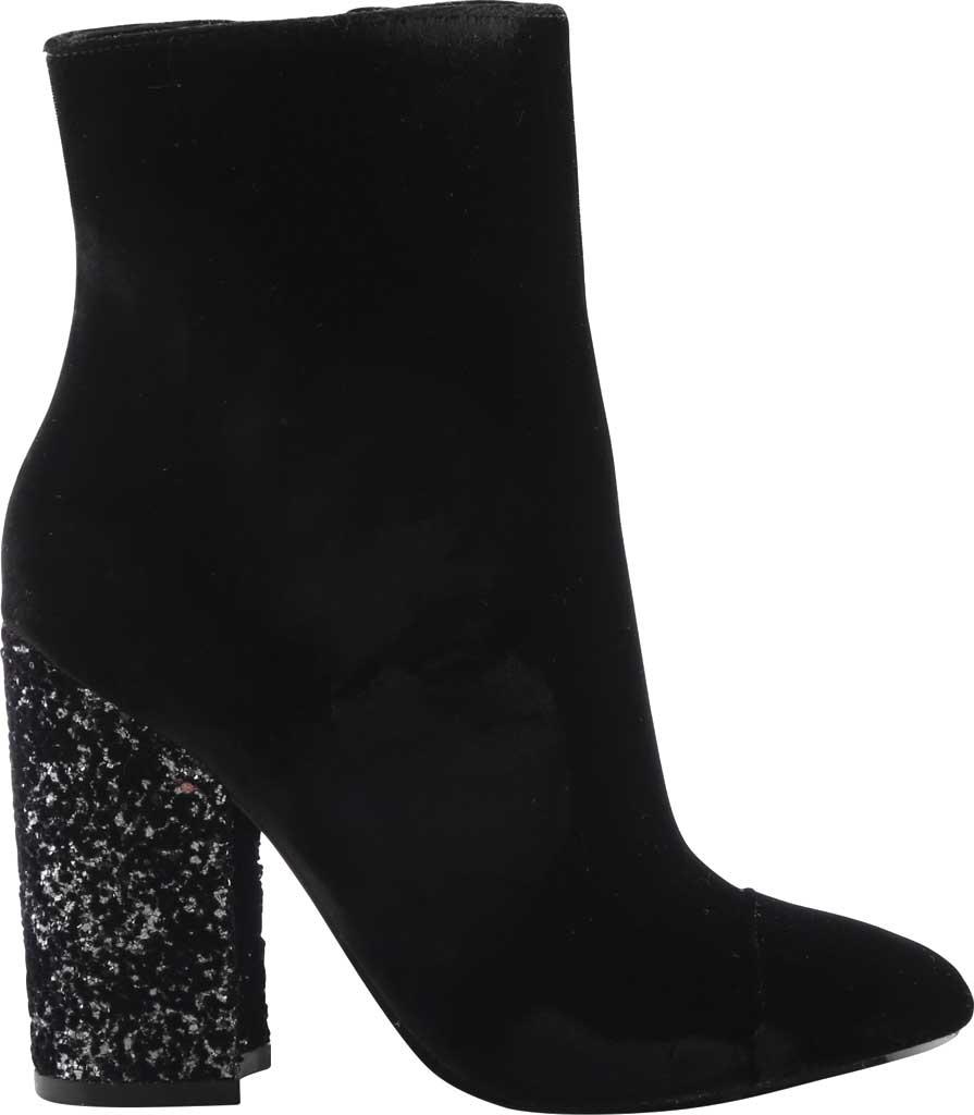 Women's Kendall & Kylie Kaden Glitter Heel Velvet Bootie, Black Velvet, large, image 1