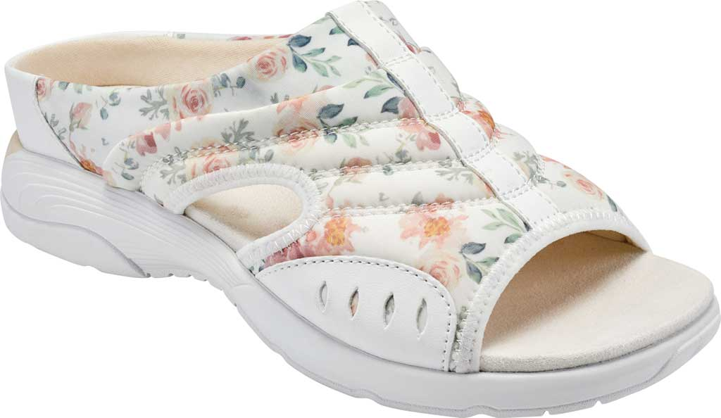 Women's Easy Spirit Traciee Slide, White Summer Floral Print Fabric, large, image 1