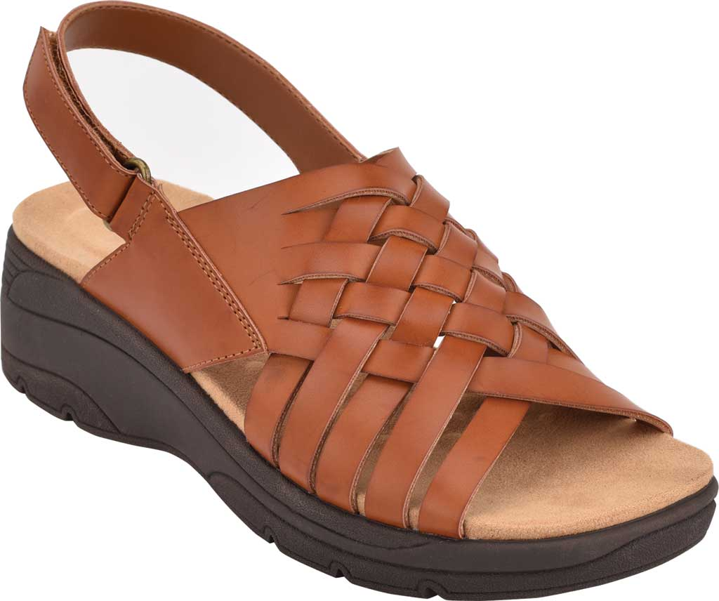 Women's Easy Spirit Ashle3 Woven Slingback Sandal, Medium Brown Synthetic, large, image 1