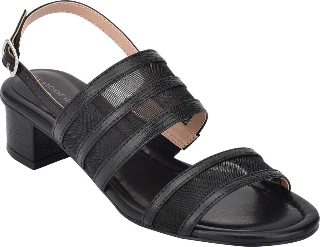 Women's Bandolino Rochel Block Heel Slingback, Black Mesh/Faux Leather, large, image 1