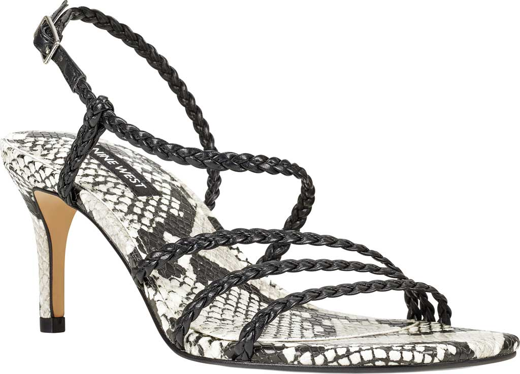 Women's Nine West Game2 Strappy Sandal, Black/Black Snake Faux Leather, large, image 1