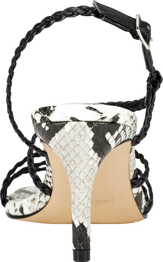 Women's Nine West Game2 Strappy Sandal, Black/Black Snake Faux Leather, large, image 3