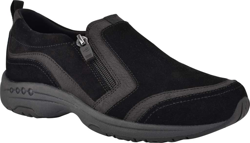 Women's Easy Spirit Thorne Sneaker, Black Softy Suede/Morocco PU, large, image 1