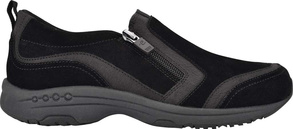Women's Easy Spirit Thorne Sneaker, Black Softy Suede/Morocco PU, large, image 2