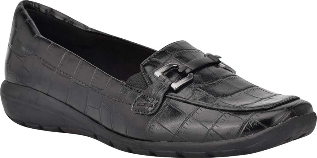 Women's Easy Spirit Abbie Loafer, Black Croco PU, large, image 1