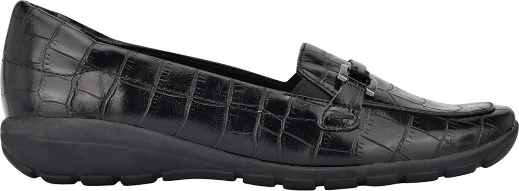 Women's Easy Spirit Abbie Loafer, Black Croco PU, large, image 2