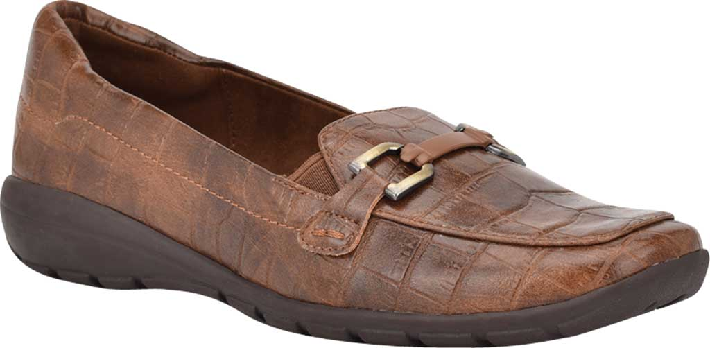 Women's Easy Spirit Abbie Loafer, Brown Croco PU, large, image 1