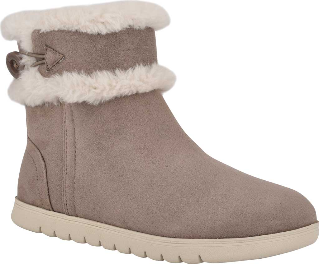 Women's Easy Spirit Snowy Bootie Slipper, Taupe Fabric Suede/Plush Fur, large, image 1