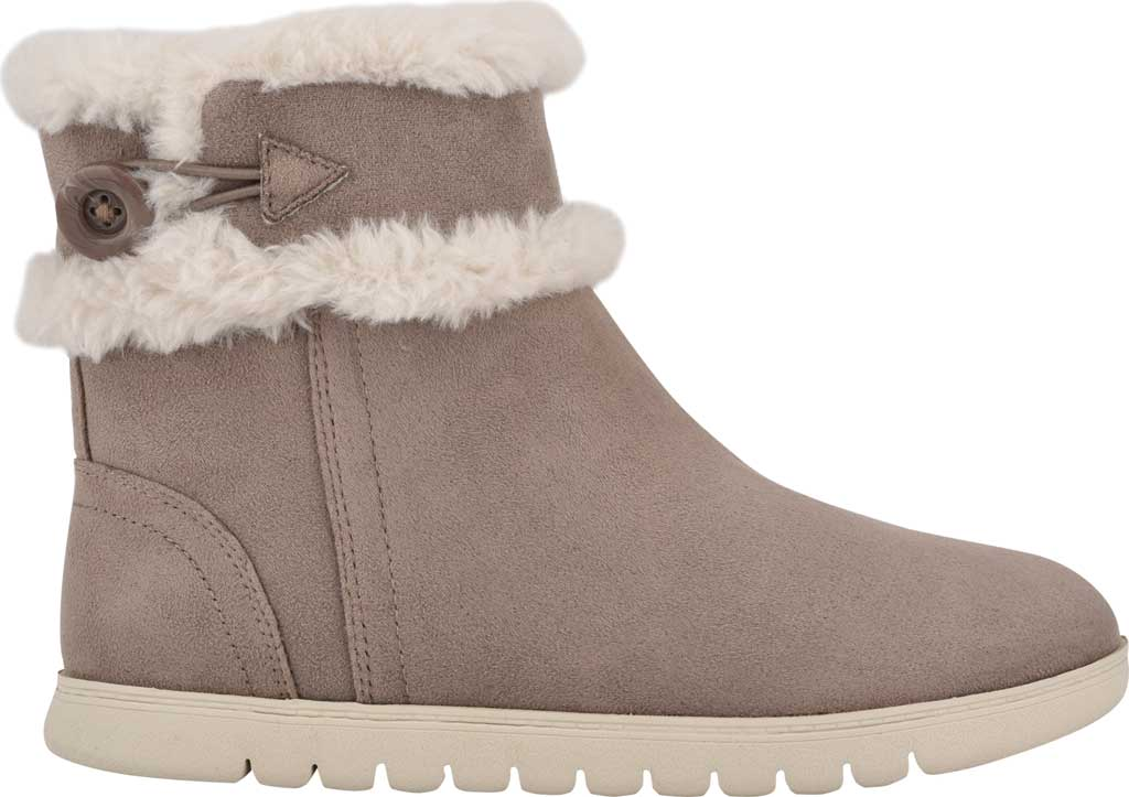 Women's Easy Spirit Snowy Bootie Slipper, Taupe Fabric Suede/Plush Fur, large, image 2