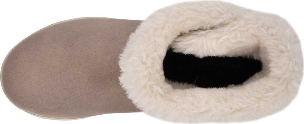 Women's Easy Spirit Snowy Bootie Slipper, Taupe Fabric Suede/Plush Fur, large, image 4