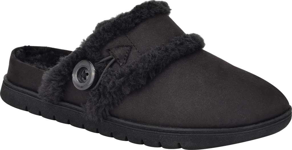Women's Easy Spirit Season Mule Slipper, Black Fabric Suede/Plush Fur, large, image 1