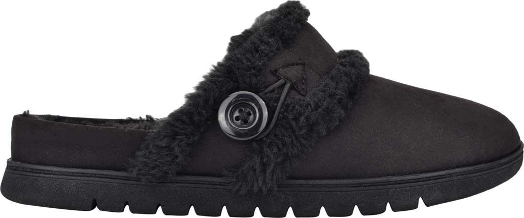 Women's Easy Spirit Season Mule Slipper, Black Fabric Suede/Plush Fur, large, image 2
