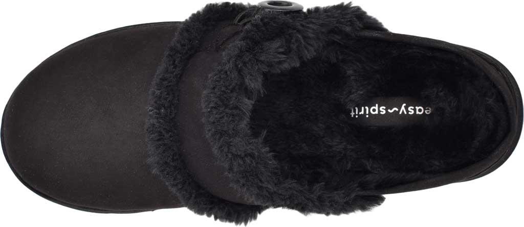Women's Easy Spirit Season Mule Slipper, Black Fabric Suede/Plush Fur, large, image 4
