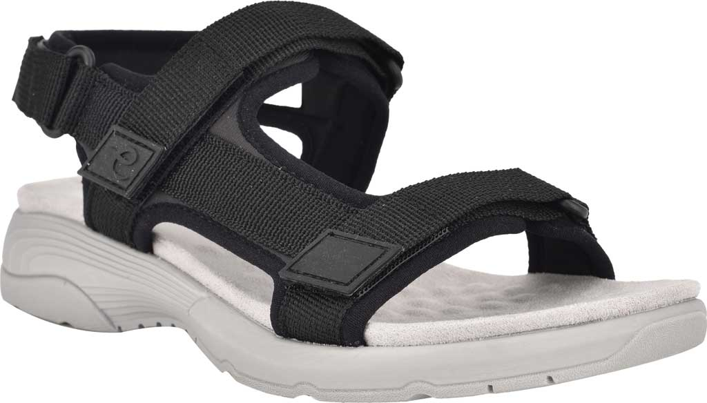 Women's Easy Spirit Tabata Active Sandal, Black Stretch Fabric, large, image 1