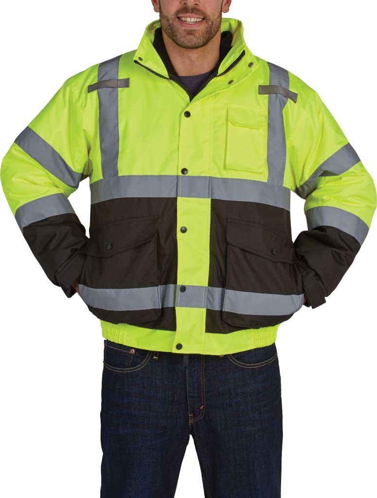 Men's Utility Pro High Visibility Premium Bomber Jacket, Yellow, large, image 1