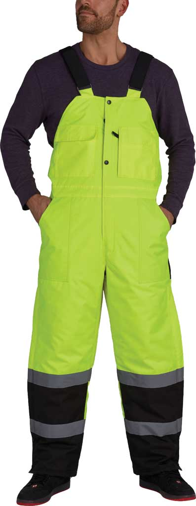 Men's Utility Pro High Visibility Insulated Bib Overall, Lime, large, image 1