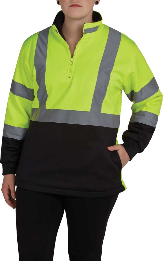 Women's Utility Pro High Visibility 1/4 Zip Softshell Pullover, Yellow/Black, large, image 1