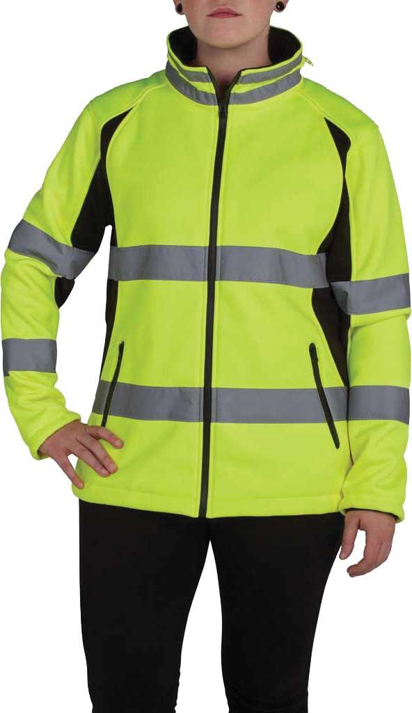 Women's Utility Pro High Visibility Full Zip Softshell Jacket, Black/Yellow, large, image 1