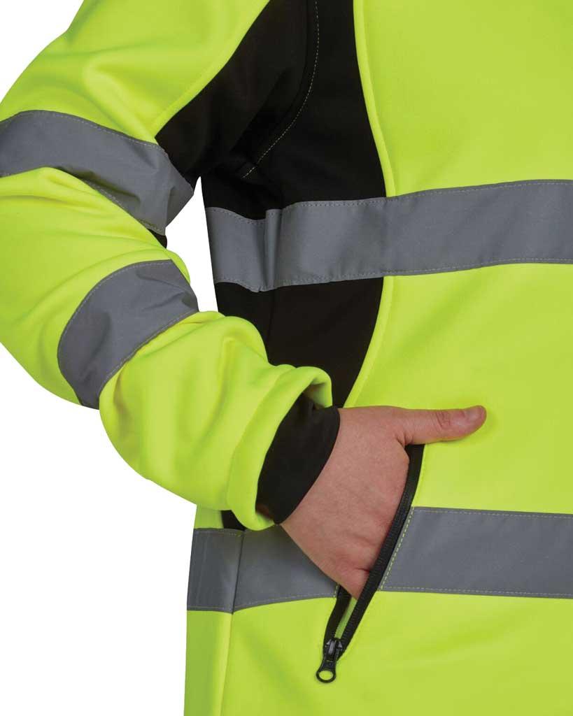 Women's Utility Pro High Visibility Full Zip Softshell Jacket, Black/Yellow, large, image 3
