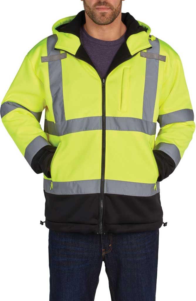 Men's Utility Pro High Visibility Microfleece Softshell Jacket, Yellow, large, image 1