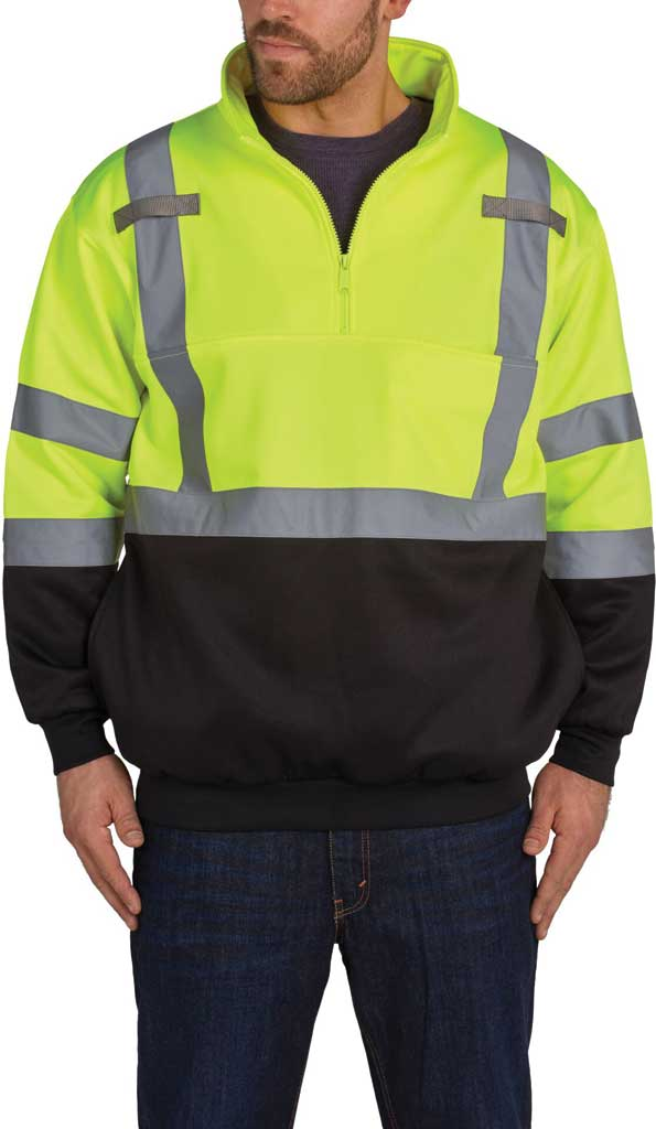 Men's Utility Pro High Visibility Class 3 1/4 Zip Sweatshirt, Black/Yellow, large, image 1