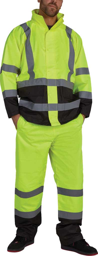 Men's Utility Pro High Visibility Basic Waterproof Rain Jacket, Yellow, large, image 1
