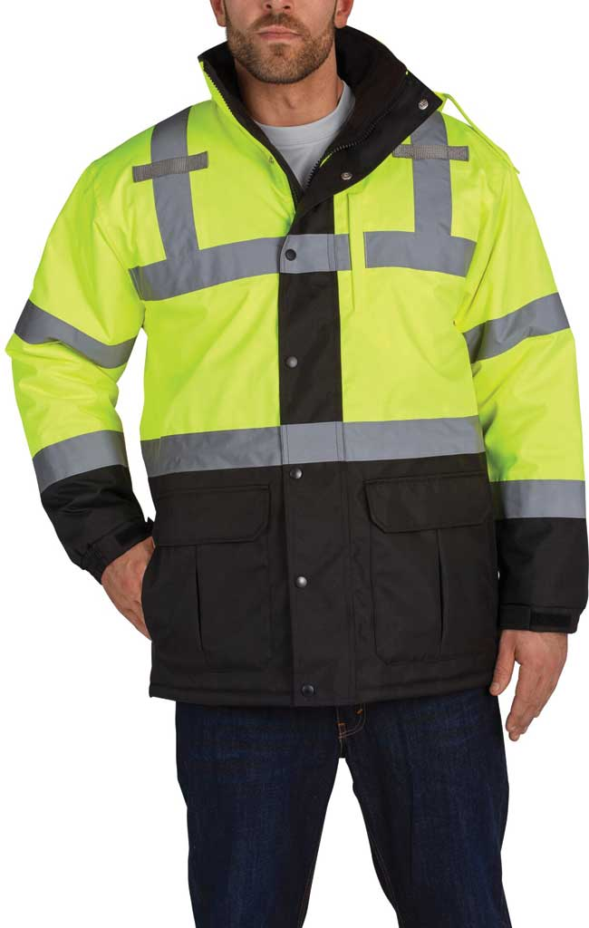 Men's Utility Pro High Visibility Safety Contractor Parka, Yellow, large, image 1
