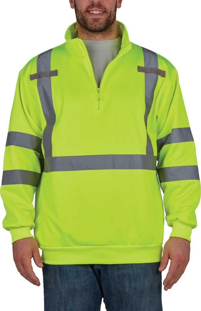 Men's Utility Pro High Visibility 1/4 Zip Sweatshirt, Yellow, large, image 1