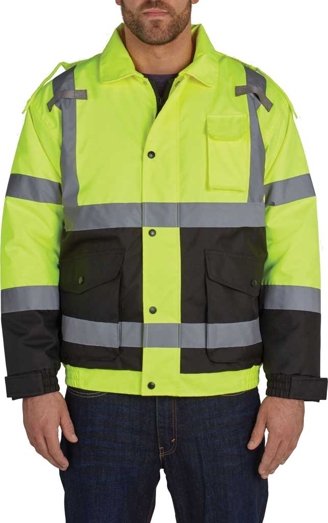 Men's Utility Pro High Visibility Quilt Lined Bomber Tall Jacket, Yellow, large, image 1