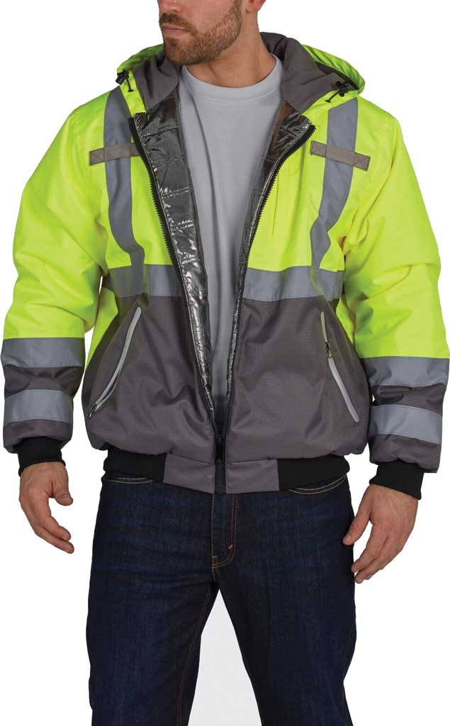 Men's Utility Pro High Visibility Warm Up Lining Bomber Tall Jacket, Yellow, large, image 1