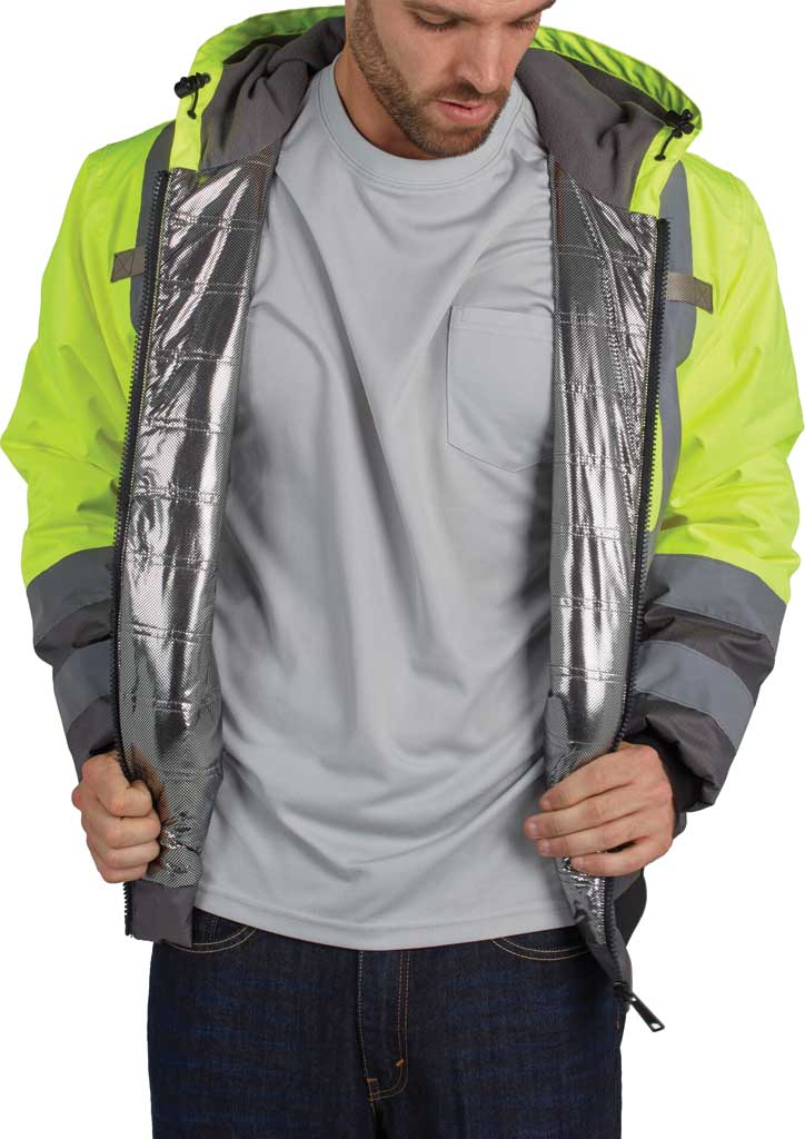 Men's Utility Pro High Visibility Warm Up Lining Bomber Tall Jacket, Yellow, large, image 2