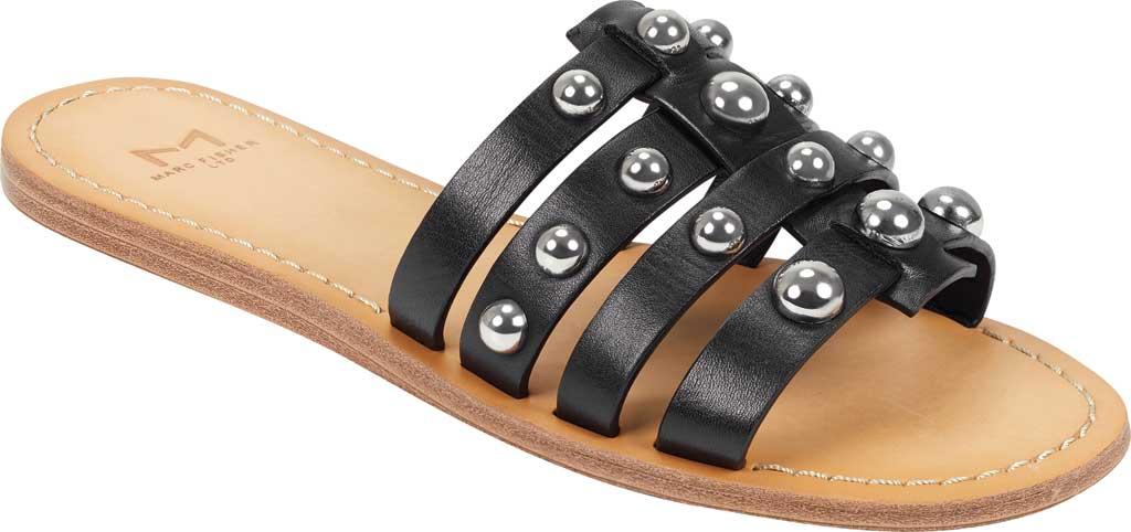 Women's Marc Fisher Pava Studded Slide Sandal, Black Fine Stetson Leather, large, image 1