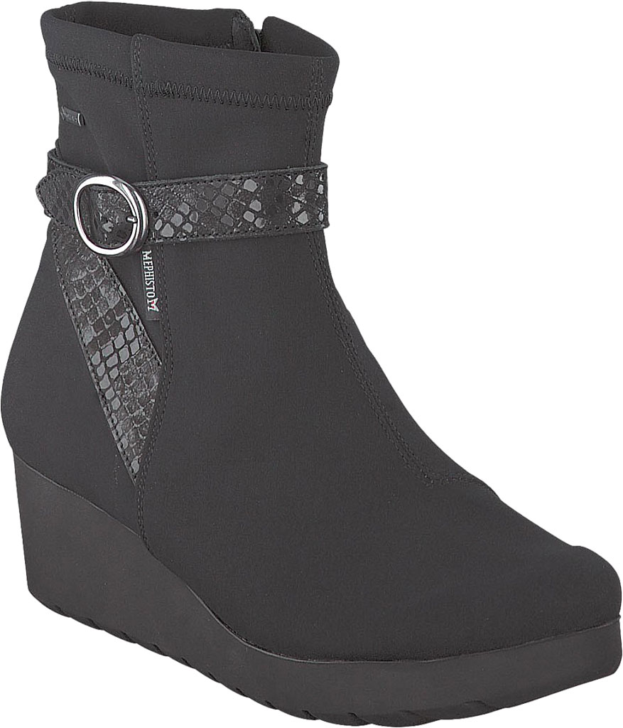 Women's Mephisto Tyba GT Wedge Boot, Black Lycra Leather, large, image 1