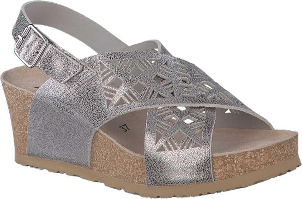 Women's Mephisto Lea Wedge Sandal, Silver Metallic Calfskin, large, image 1