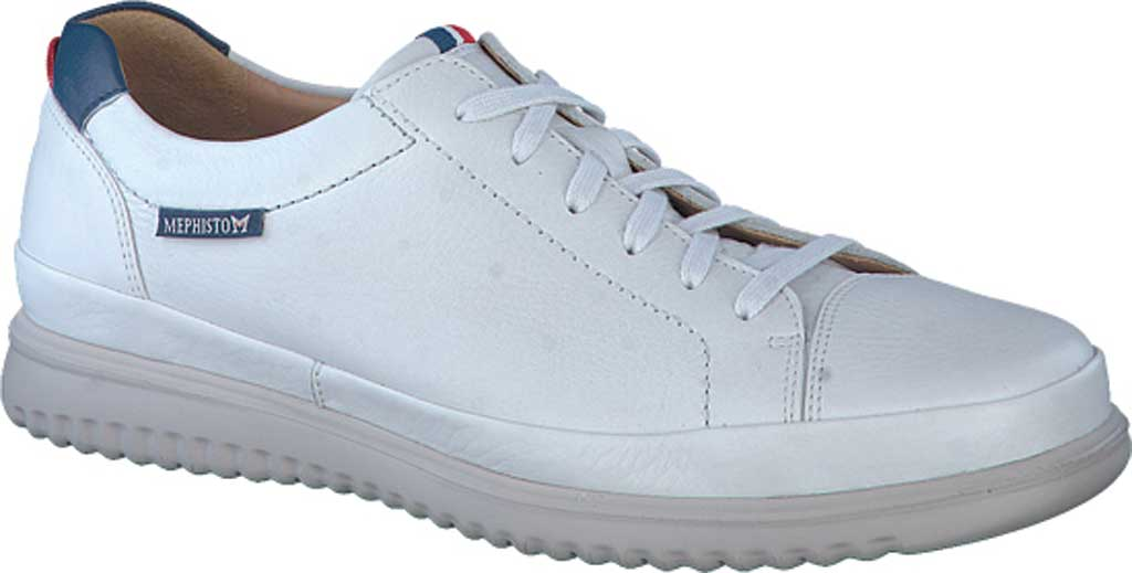 Men's Mephisto Thomas Sneaker, White/Denim Oregon Smooth Leather, large, image 1