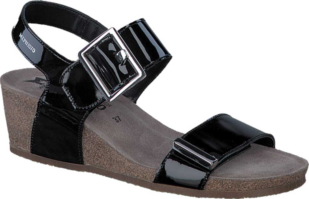 Women's Mephisto Morgana Wedge Sandal, Black Patent Leather, large, image 1