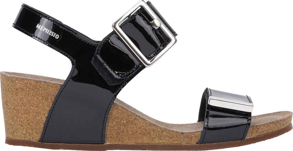 Women's Mephisto Morgana Wedge Sandal, Black Patent Leather, large, image 2
