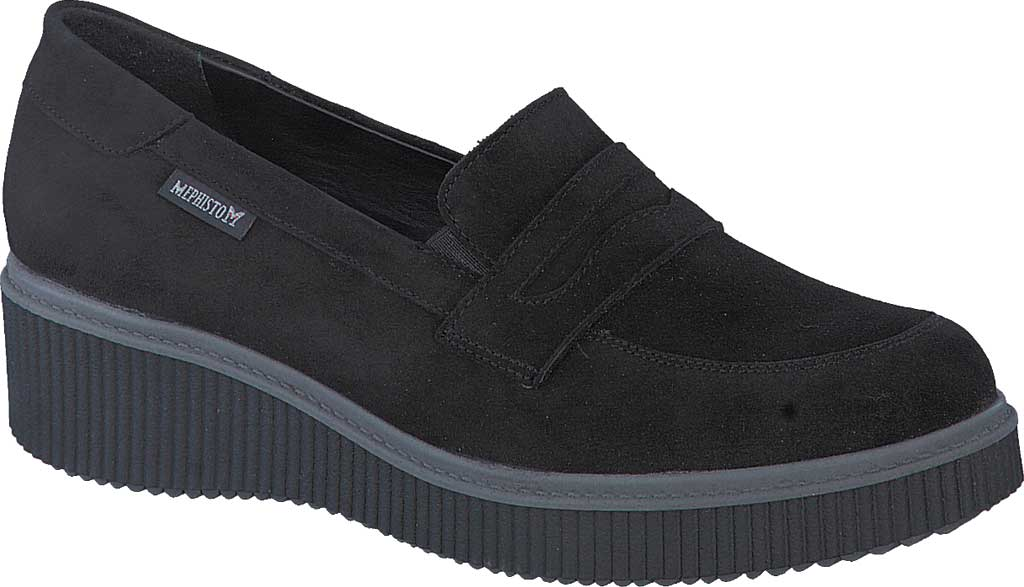 Women's Mephisto Ermia Penny Loafer, Black Velcalf Premium Suede, large, image 1