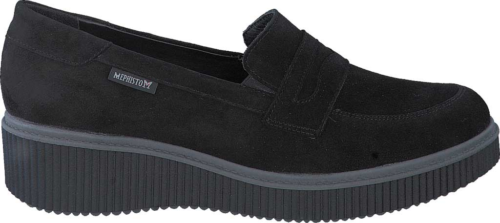 Women's Mephisto Ermia Penny Loafer, Black Velcalf Premium Suede, large, image 2