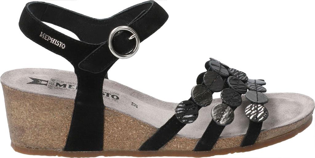 Women's Mephisto Matilde Wedge Sandal, Black Velc Leather, large, image 2